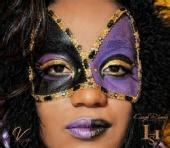 Karyn Rhodes ~Impeccable Hair Salon - Mardi Gras Mask~Hand painted w/crystals