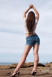 a - High cut top w/ Blue denim shorts