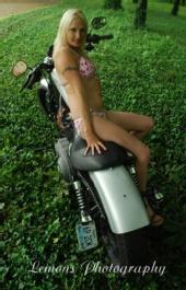 Hot-Blond - on hot bike