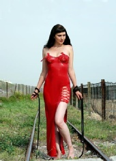 Varla - Red latex dress