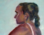 Brad Serdan - woman -  oil on board